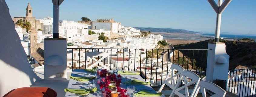 vejer de la frontera, morocco from spain, dining table on terrace