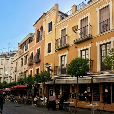 Seville street scene, cafes and restaurants