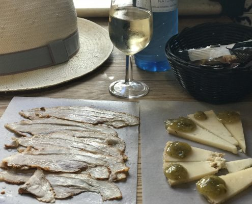 Tapas, cheese with asparagus jam & Sherry