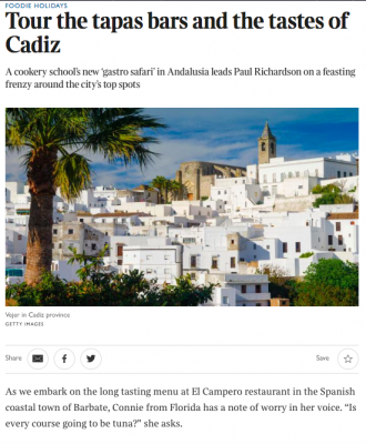 FOODIE HOLIDAYS Tour the tapas bars and the tastes of Cadiz