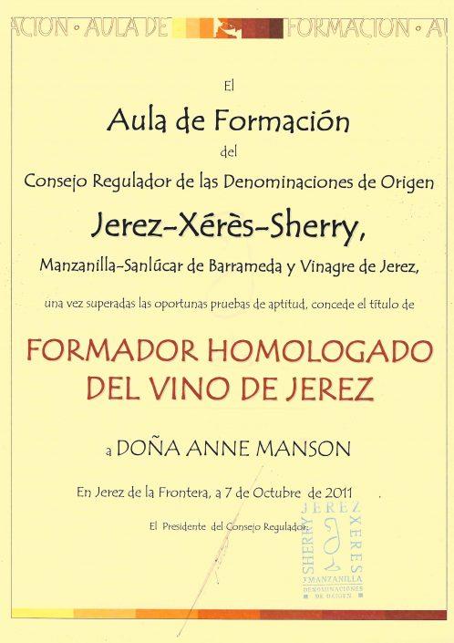 Sherry Educator Certificate