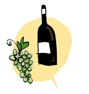 sherry bottle with grapes