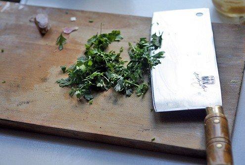 chopping parsley