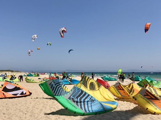 Kites on the beach at Valdevaqueros, Tarifa