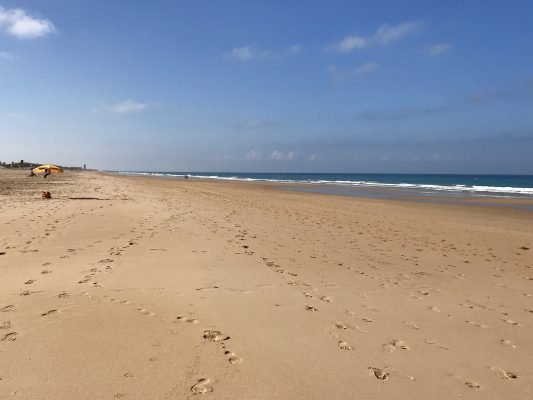 The endless stretch of sand at El Palmar beach