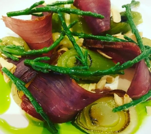 mojama tuna salad leeks samphire